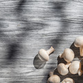 Mushrooms on wooden table, top view - PhotoDune Item for Sale