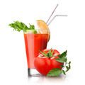 red tomato and glass of juice on white - PhotoDune Item for Sale