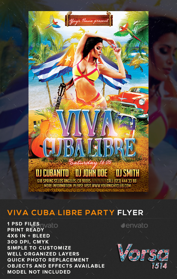 GraphicRiver Viva Cuba Libre Party Flyer 10878129