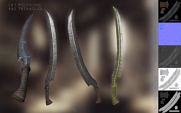3DOcean Game Ready Low-Poly Elvish Sword 10878294