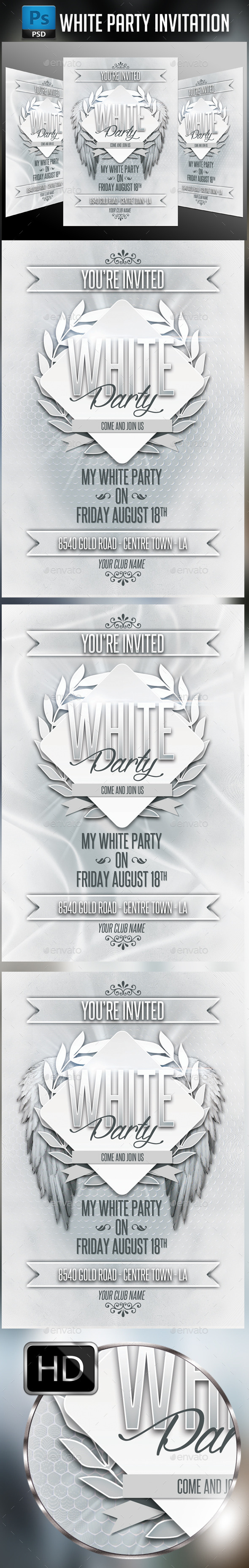 GraphicRiver White Party Invitation 10880080