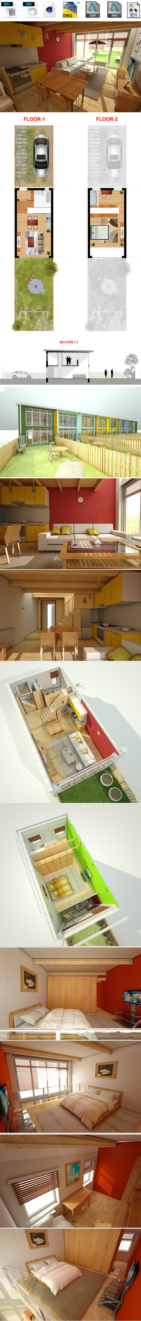 House interior, Exterior - 3DOcean Item for Sale