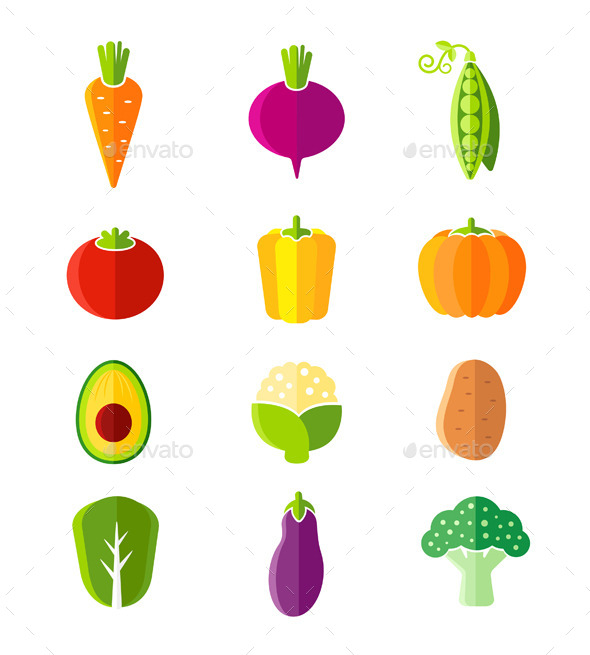 GraphicRiver Fresh Healthy Vegetables Organic Icons 10880178
