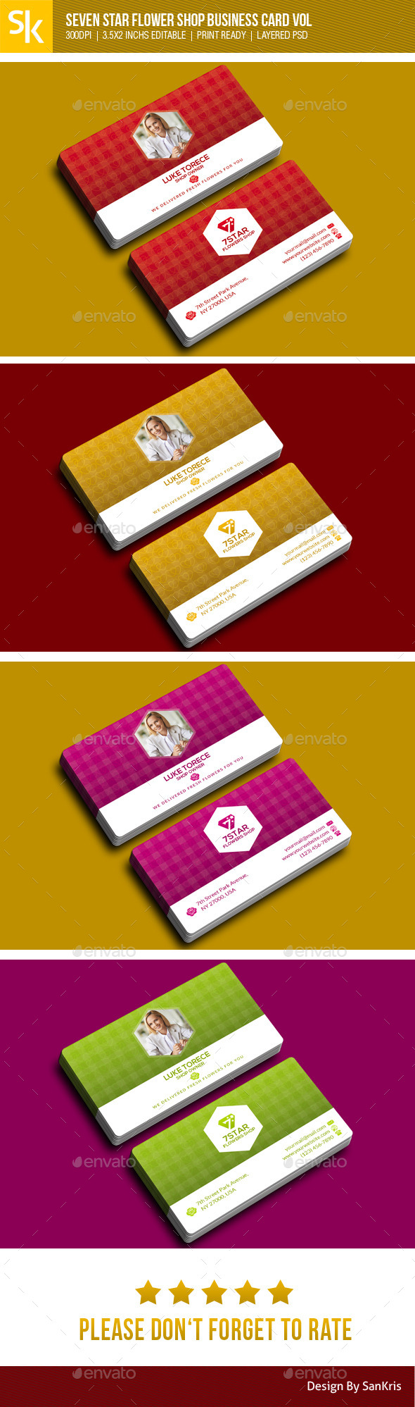 GraphicRiver Seven Star Flowers Shop Business Card 10880180