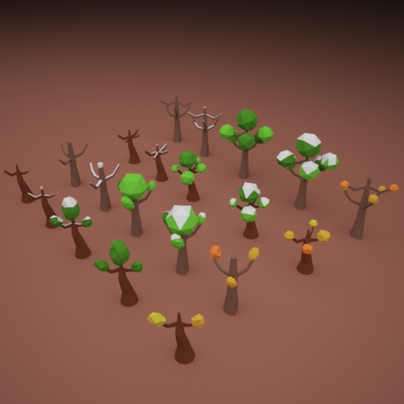 3DOcean Low Poly Tree Pack 10880869