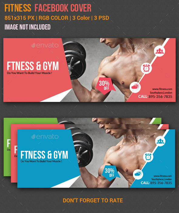 GraphicRiver Gym & Fitness Facebook Timeline Cover 2 10880949