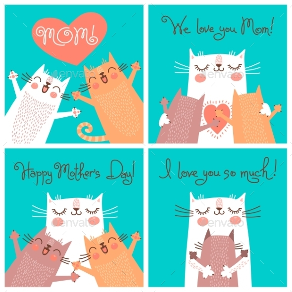 GraphicRiver Cards for Mothers Day with Cats 10881072