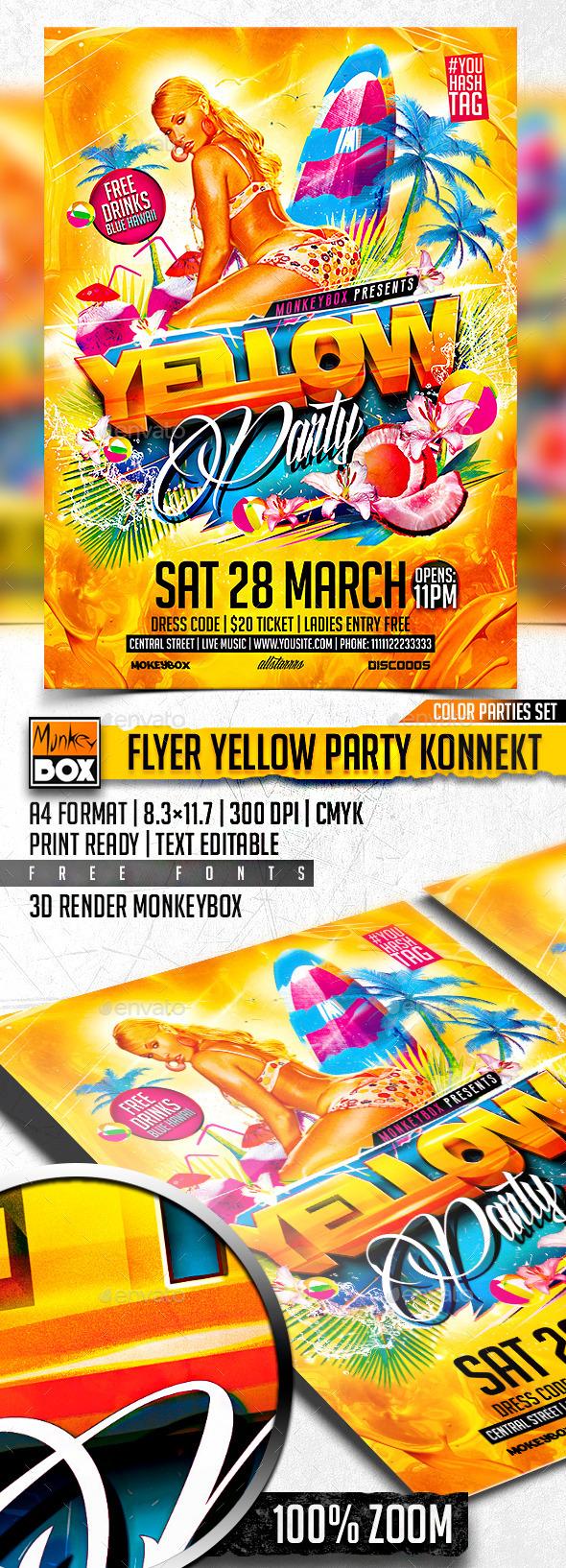GraphicRiver Flyer Yellow Party Konnekt 10881466