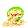 Cornflakes in the green bowl on white background. - PhotoDune Item for Sale
