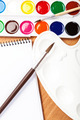 Watercolor paint, brushes and notebook. - PhotoDune Item for Sale
