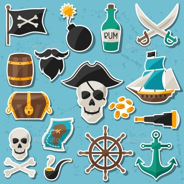 GraphicRiver Pirate Themed Stickers 10882320