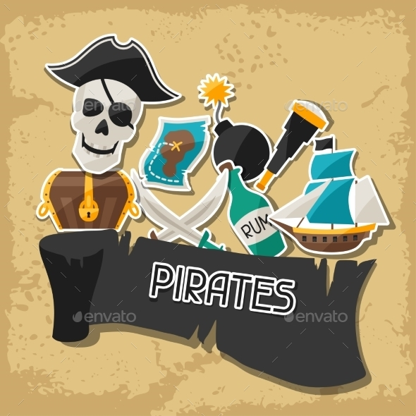 GraphicRiver Background on Pirate Theme with Stickers 10882321