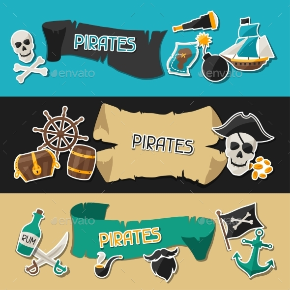 GraphicRiver Banners on Pirate Theme with Stickers 10882330
