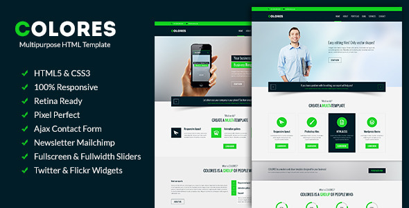 ThemeForest Colores Multipurpose Corporate Template 10834473