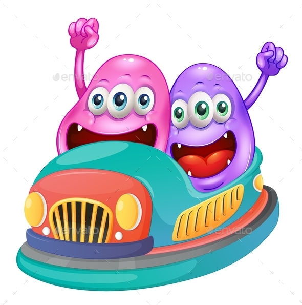 GraphicRiver Monsters Riding on a Bumpcar 10882592