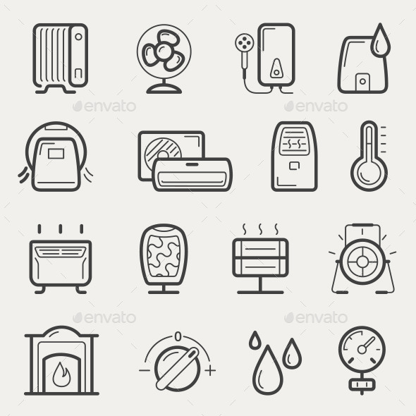 GraphicRiver Climatic Equipment Line Icons 10882784