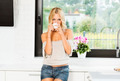 tea time for a blond stunning woman - PhotoDune Item for Sale