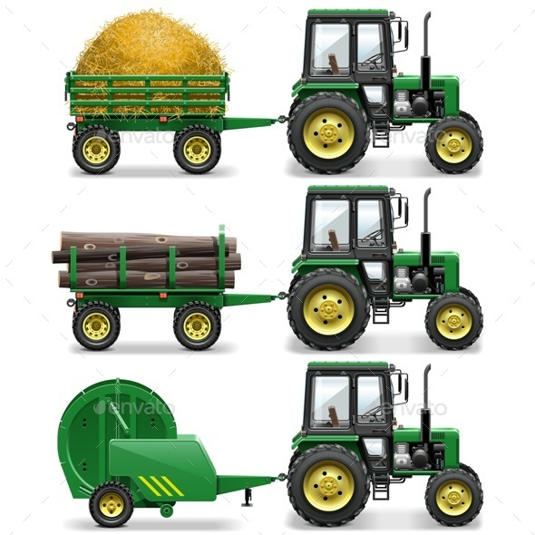 GraphicRiver Vector Farm Tractors 10885123