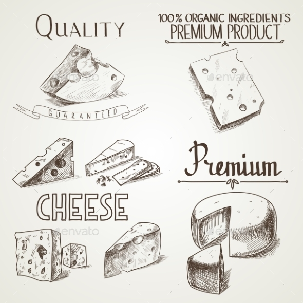 GraphicRiver Cheese Sketch Icons 10885287