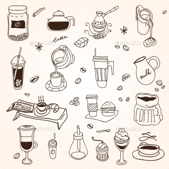 GraphicRiver Coffee Doodles 10885289
