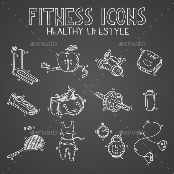 GraphicRiver Hand Drawn Fitness Doodle Icons 10885290