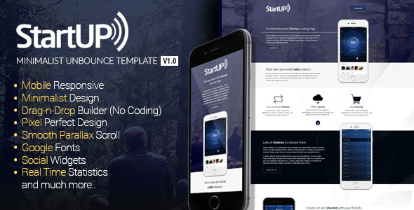 ThemeForest Startup Minimalist Responsive Unbounce Template 10827749