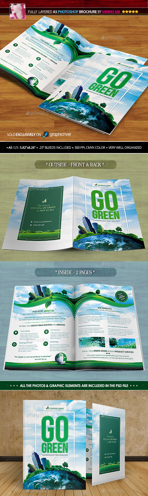 GraphicRiver Go Green Bi-Fold Brochure 10800715