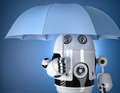 Robot with umbrella. Security concept. Contains clipping path - PhotoDune Item for Sale