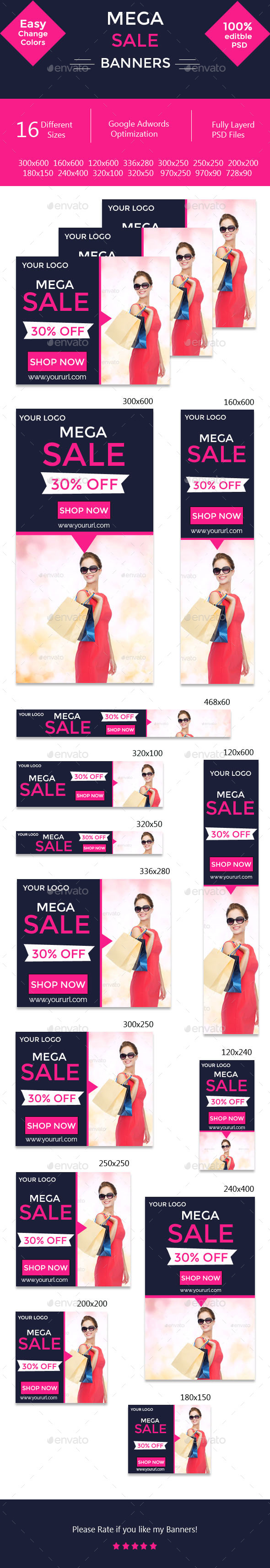 GraphicRiver Mega Sale Banners 10889135