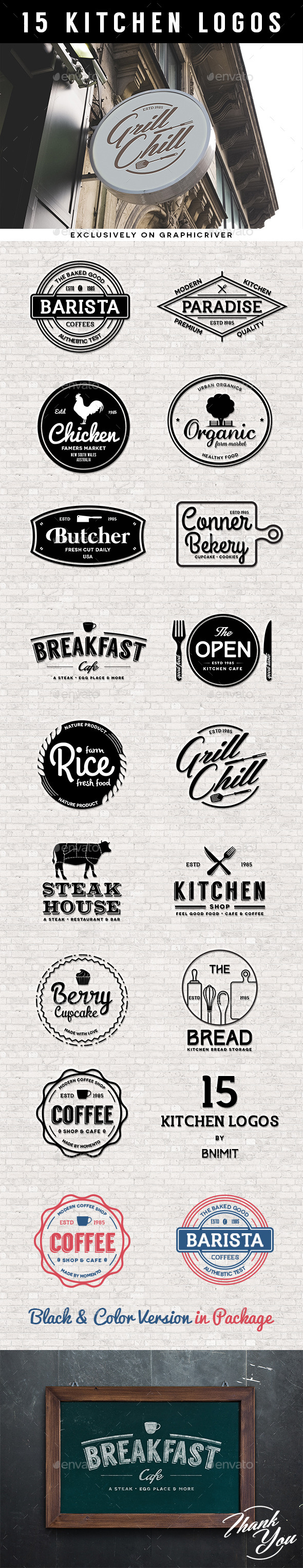 GraphicRiver 15 Kitchen logos 10889428