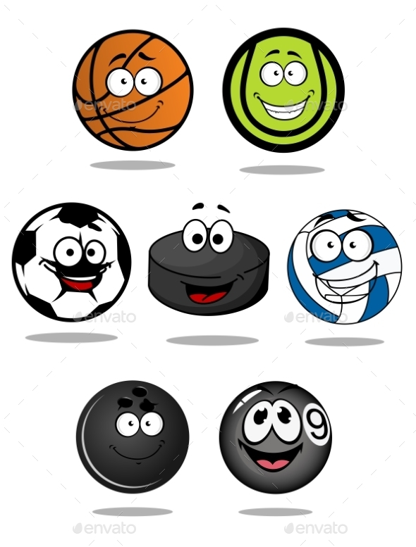 GraphicRiver Set of Cartoon Sports Ball Characters 10889656