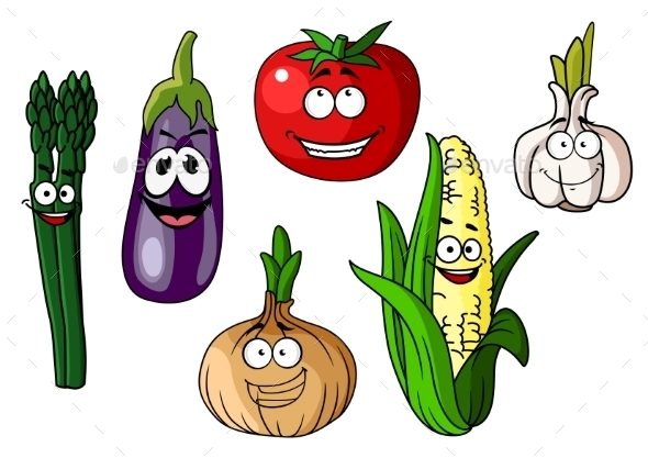 GraphicRiver Cartoon Vegetables with Happy Faces 10889666