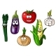 Cartoon Vegetables with Happy Faces - GraphicRiver Item for Sale