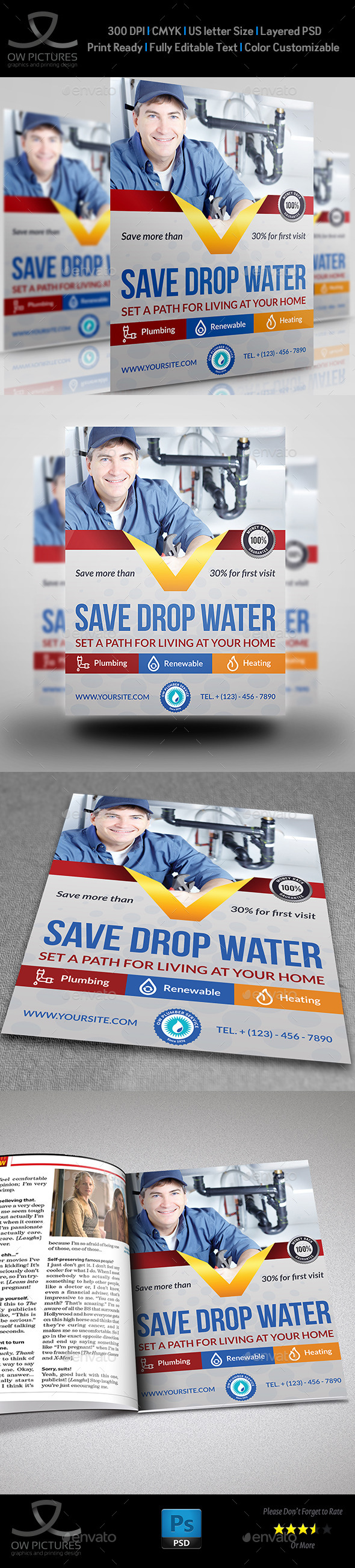 GraphicRiver Plumber Service Flyer Template 10889932