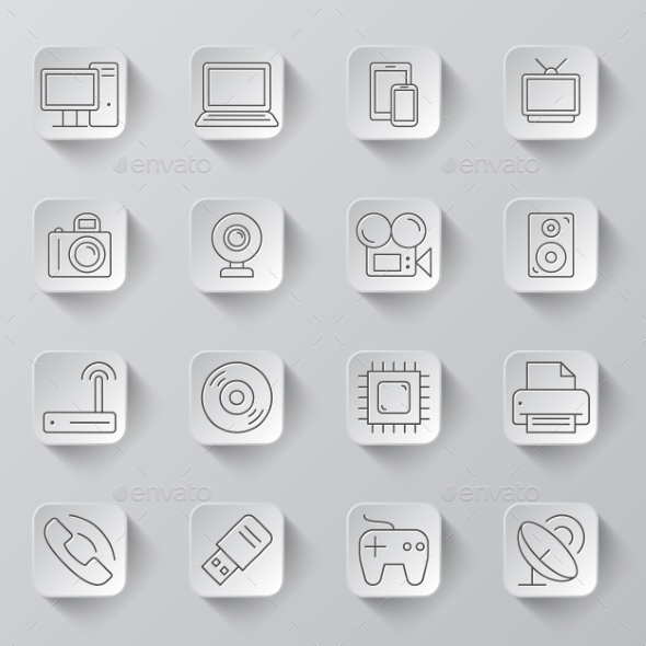 GraphicRiver Technology and Electronics Icons 10889972