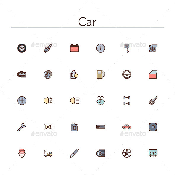 GraphicRiver Car Colored Line Icons 10891623