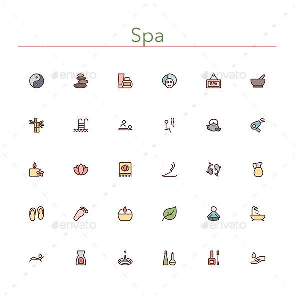 GraphicRiver Spa Colored Line Icons 10891634