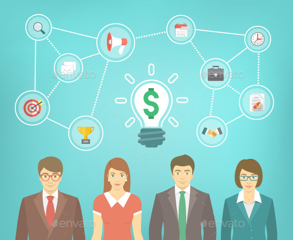 GraphicRiver Business Teamwork Concept with Marketing Icons 10891870