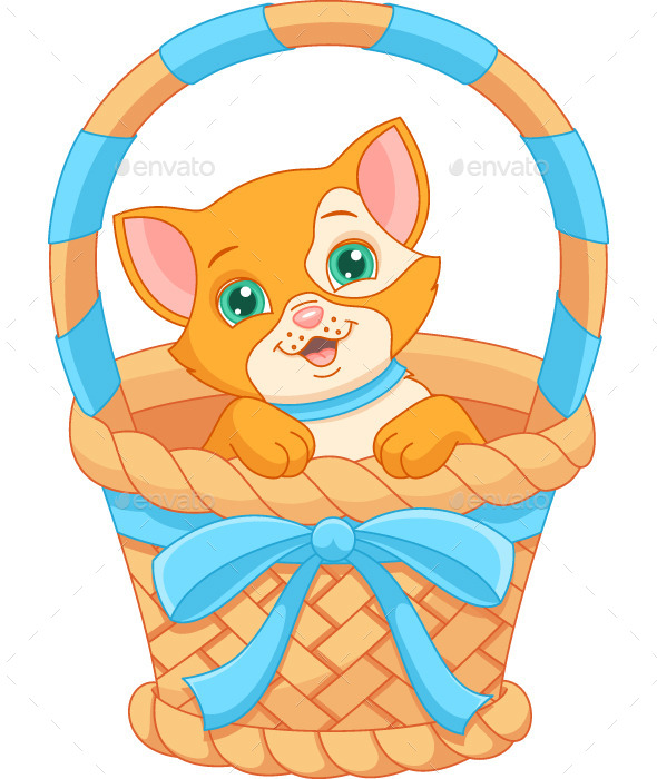 GraphicRiver Cat in a Basket 10891886