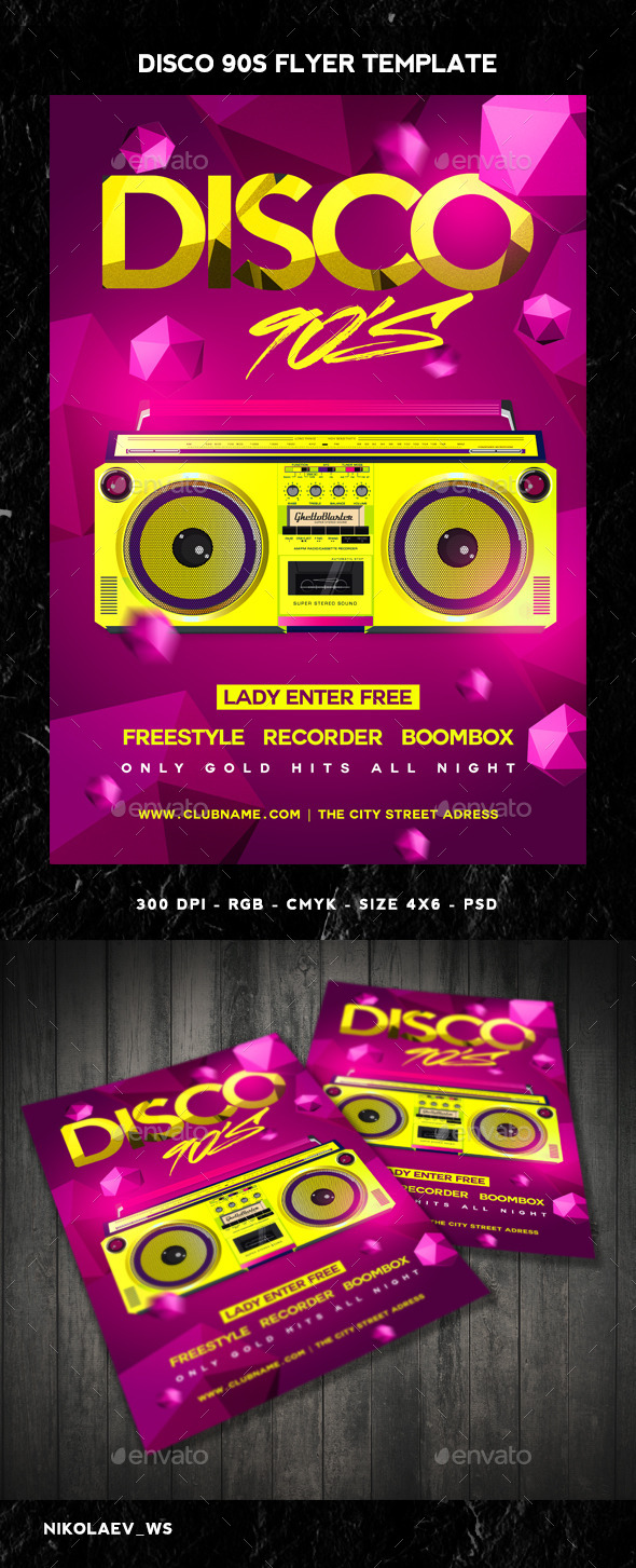 GraphicRiver Disco 90s Flyer 10891940