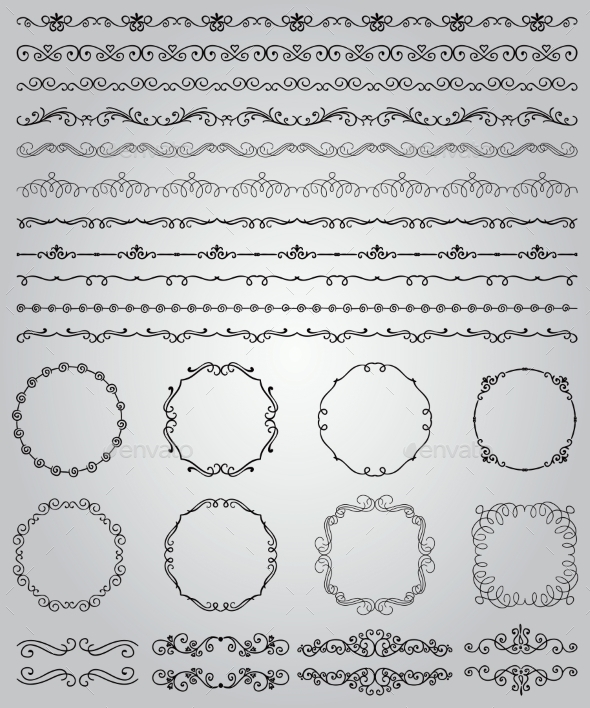 GraphicRiver Black Hand Drawn Doodle Borders and Frames 10892008