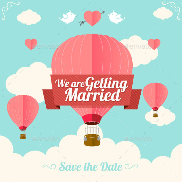 GraphicRiver Hot Air Balloon Wedding Card 10892065