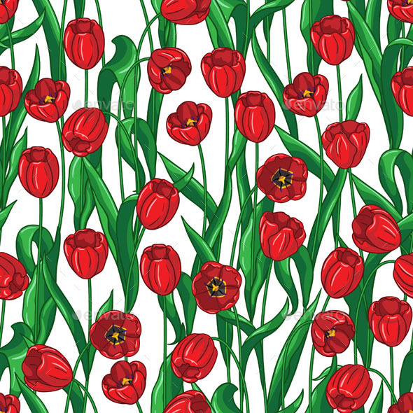 GraphicRiver Red Tulips Pattern 10892112