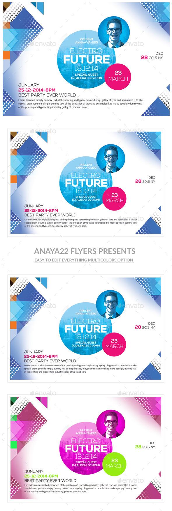GraphicRiver Festival Concert Futuristic Flyer Templates 10892213