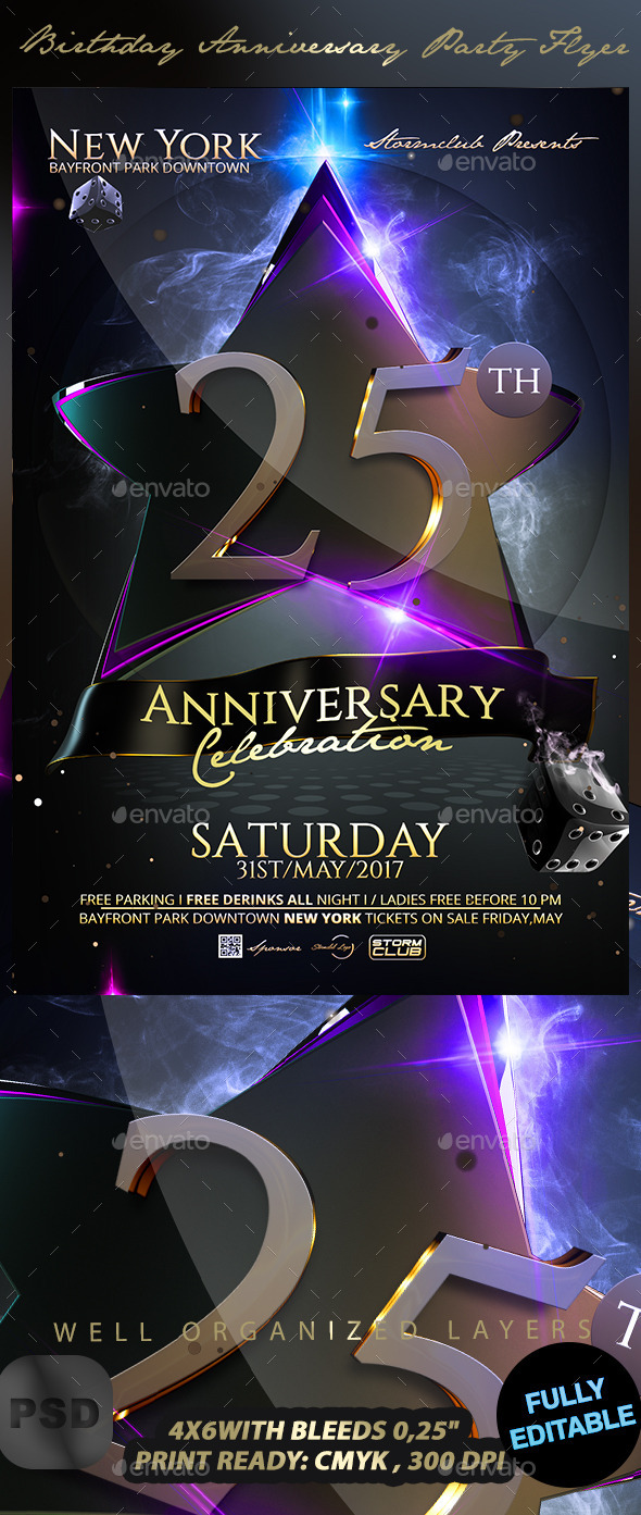 GraphicRiver Birthday Anniversary Party Flyer 10892304