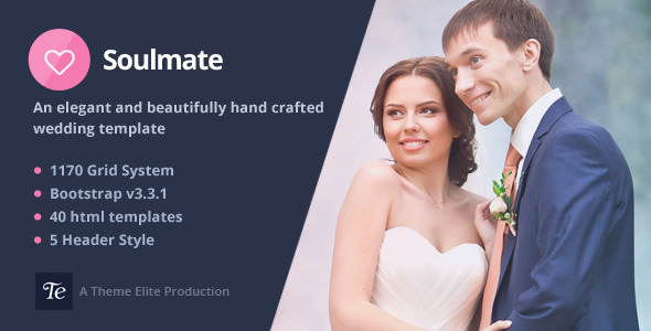 ThemeForest Soulmate Responsive Bootstrap 3 Wedding Template 10783980