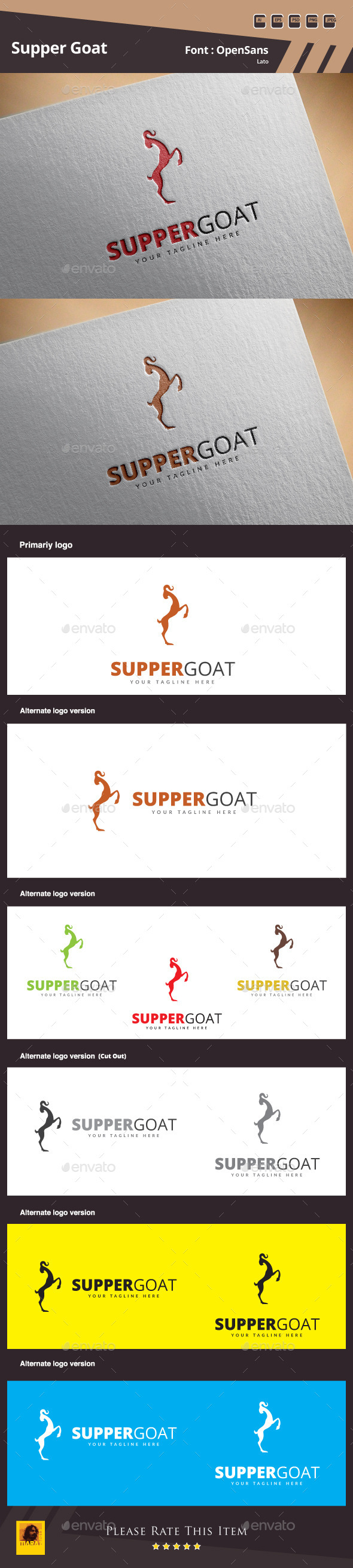 GraphicRiver Supper Goat Logo Template 10892899