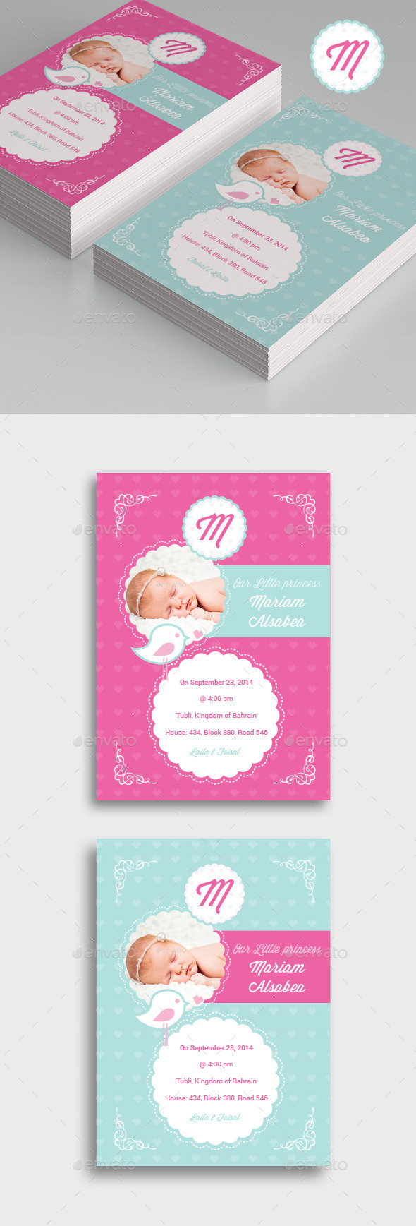 GraphicRiver Bird Baby Girl Flyer 10893026