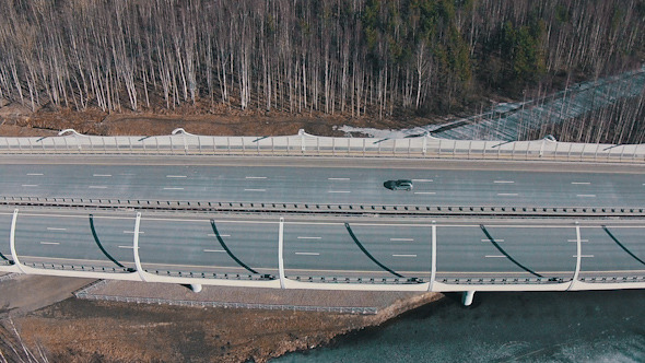 Flying Above Highway with Traffic Cars