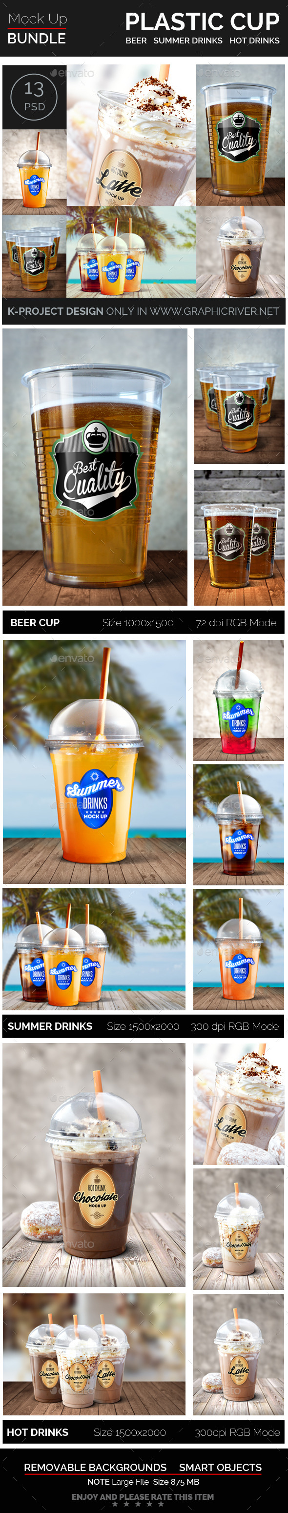 GraphicRiver Plastic Cup Mock Up Bundle 10894413